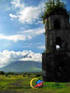 cagsawa ruins with the view of Mt. Mayon