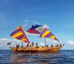 A Replica of the Visayan Balangay off the Coast of Palawan